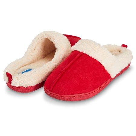 Floopi Womens Indoor Outdoor Fur Lined Clog Slipper W/Memory Foam