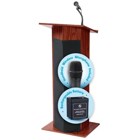 Oklahoma Sound M111PLS-MY-LWM-5 30W The Power Plus Lectern & Rechargeable Battery with Wireless Handheld Mic, - Wireless Victoria Lectern