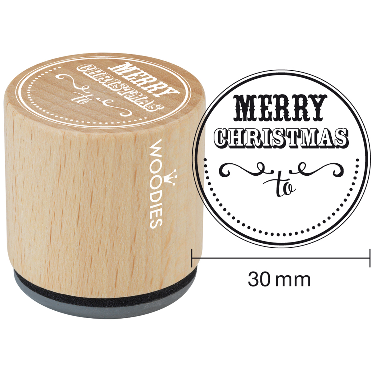 "Woodies Mounted Rubber Stamp 1.35""-Merry Christmas To"