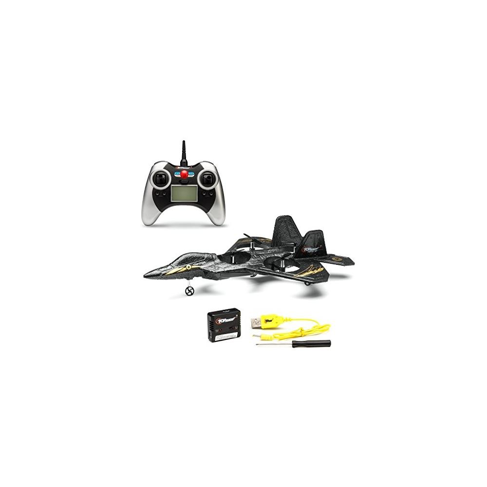 Top Race F22 Fighter Jet 4 Channel Rc Remote Control Quad Copter RTF (Black) by Top Race