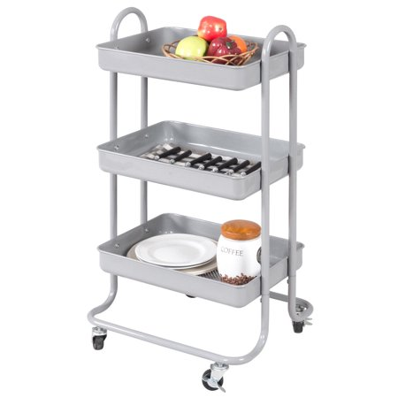 Costway 3-Tier Steel Rolling Kitchen Trolley Cart Storage Serving Island Utility -