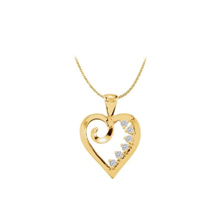 18K Yellow Gold Vermeil Six Stone CZ Heart Pendant
