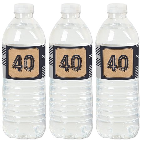 Milestone Party (40th Milestone Birthday - Party Water Bottle Sticker Labels - Set of)