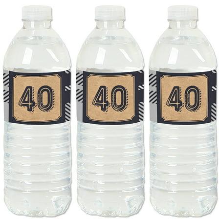 40th Birthday Milestone (40th Milestone Birthday - Party Water Bottle Sticker Labels - Set of)