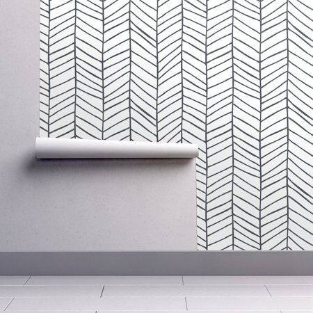 Peel And Stick Removable Wallpaper Herringbone Black And White Modern Chevron Walmart Com