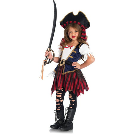 Leg Avenue Caribbean Pirate 2-Piece Girls' Halloween Costume - Little Girls Pirate Costumes