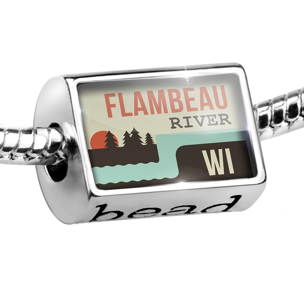 Bead USA Rivers Flambeau River - Wisconsin Charm Fits All European Bracelets