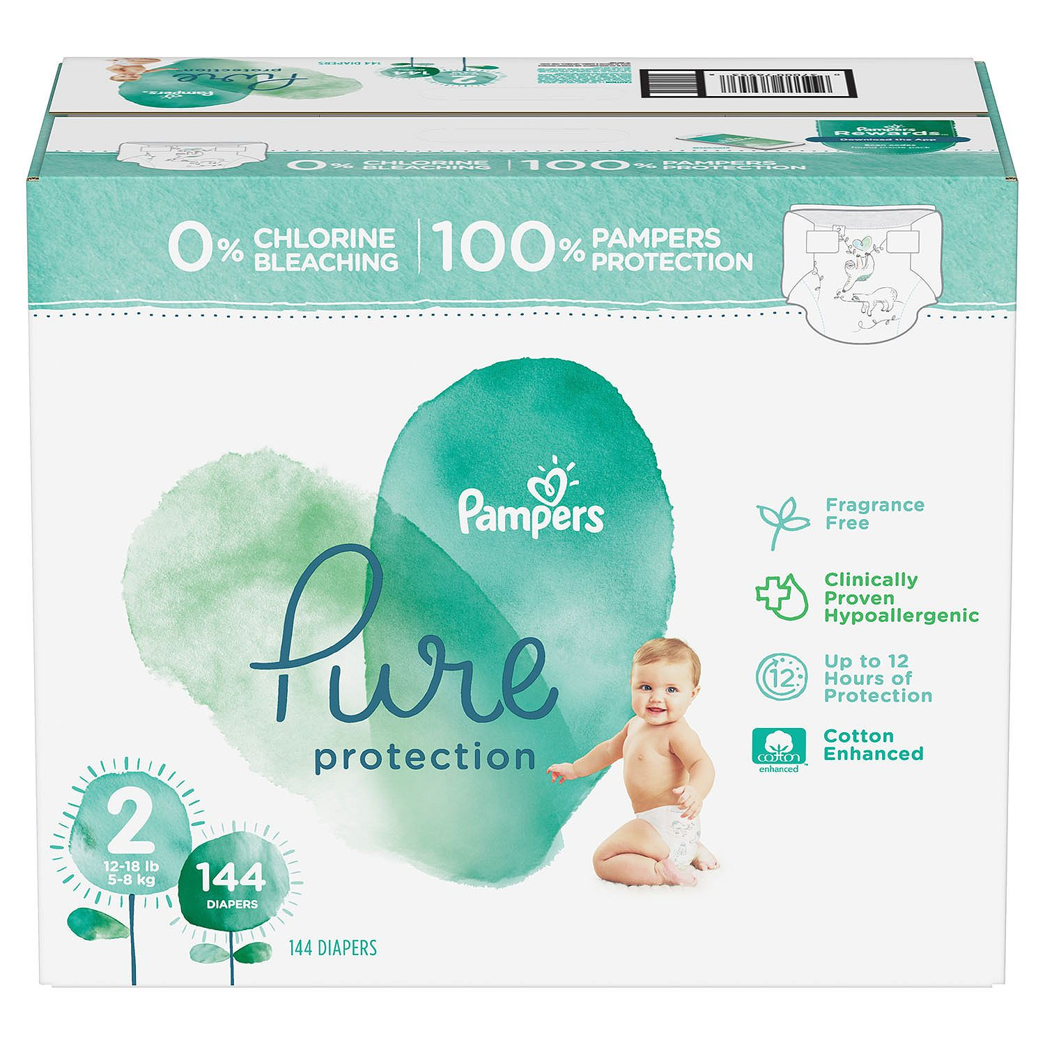 [100% Clinically proven hypoallergenic] 'Pampers' Pure Protection Diapers, Premium cotton, Soft, Size 2, Count 144 ct [Free of chlorine bleach, fragrance, lotion, parabens, and EU 26 allergens]