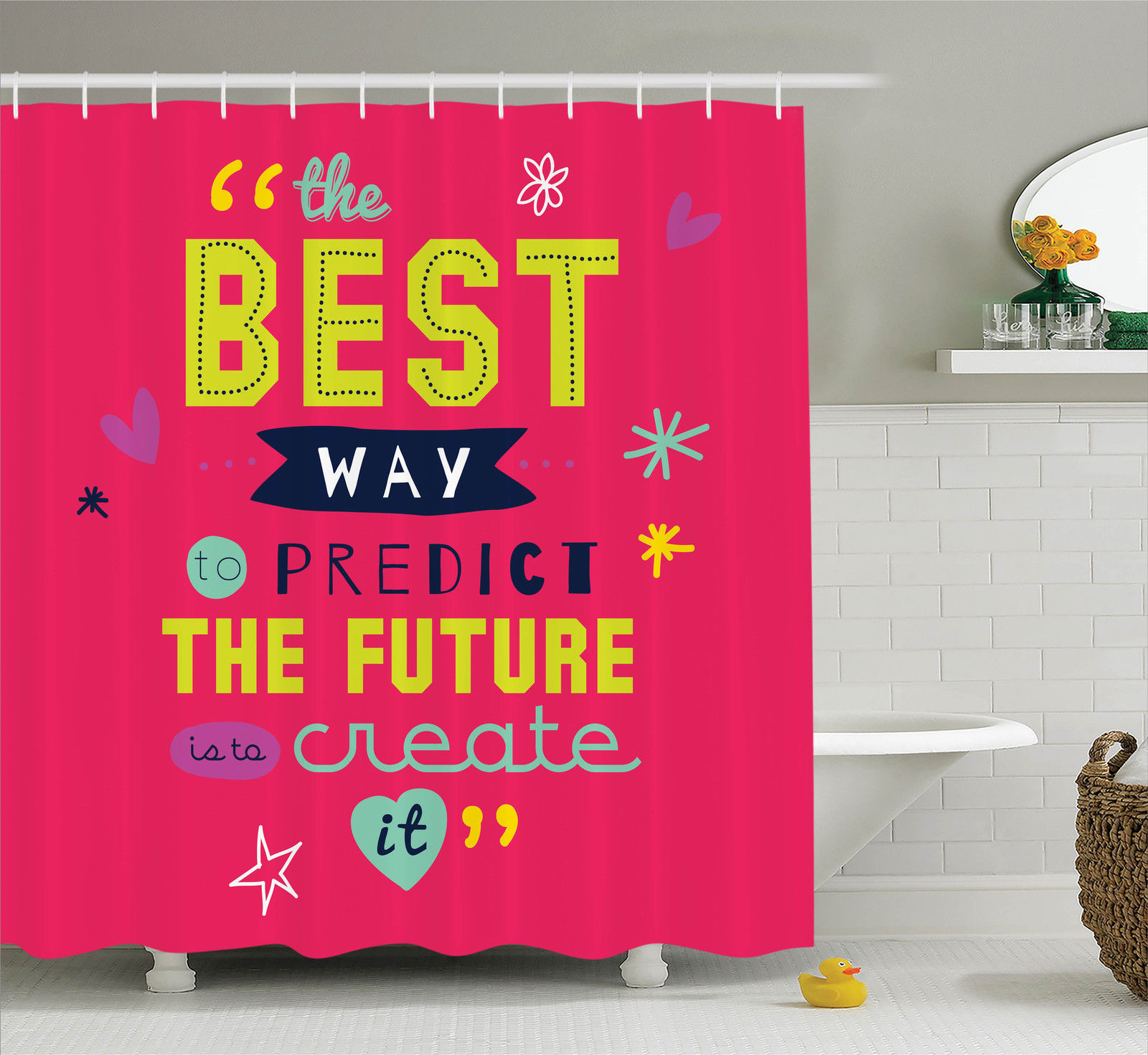 """The Best Way to Predict Future is to Create It"" Positive Shower Curtain Set"