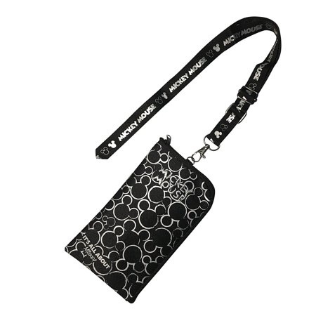 Disney Mickey Mouse Black & Silver Lanyard with Detachable Coin Purse - Jitney Bag