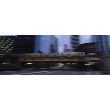 Electric Train Crossing A Bridge Chicago Illinois Usa Canvas Art   Panoramic Images  18 X 7
