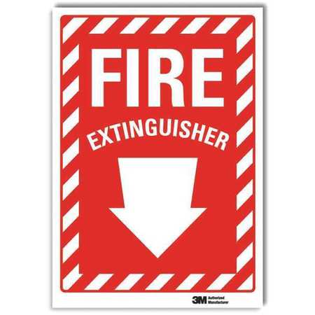 LYLE U1-1010-RD_10X14 Fire Extinguisher Sign, 14x10 In.