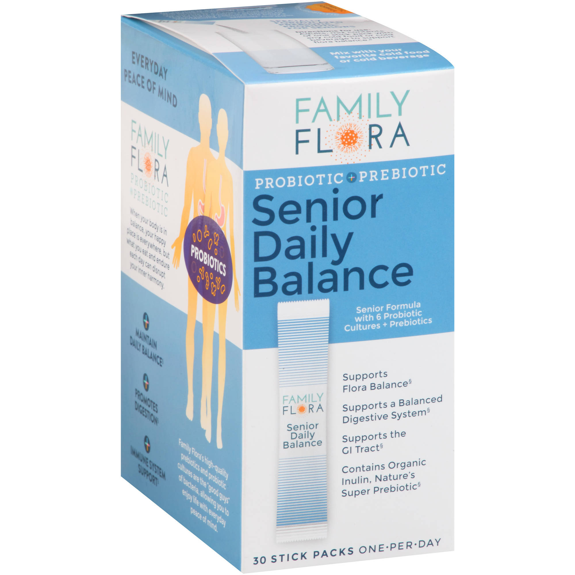 Family Flora Probiotic + Prebiotic Senior Daily Balance Dietary Supplement Stick Packs, 30 count