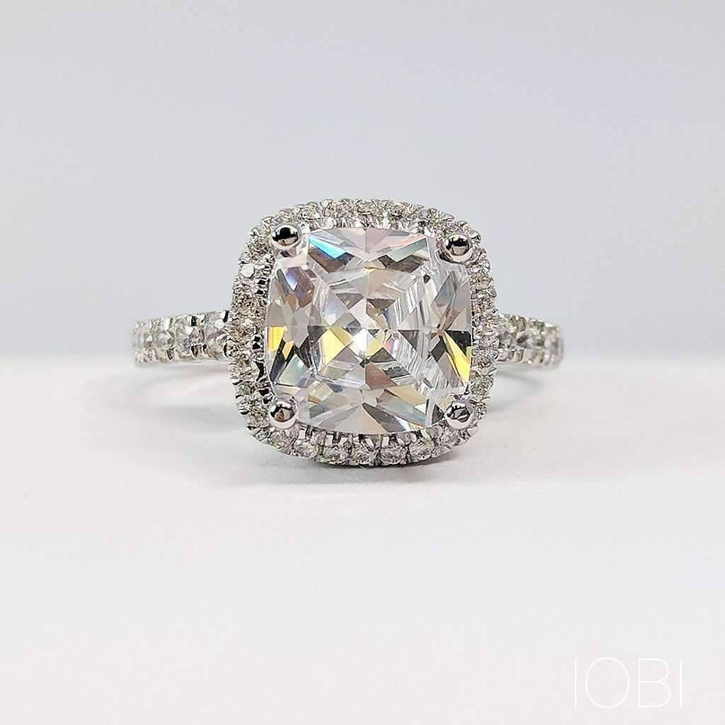 Regina 3CT Cushion Cut Halo IOBI Cultured Diamond Ring 4.5   Platinum by Feshionn IOBI