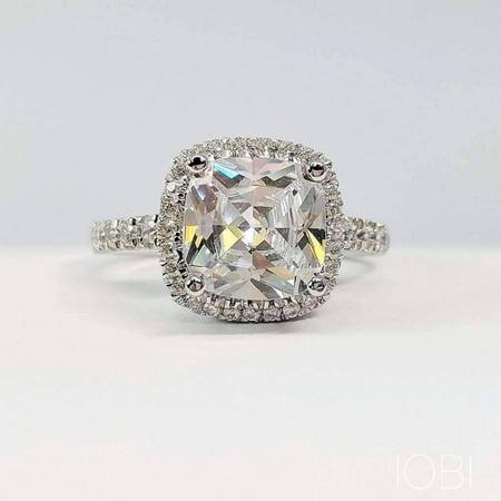 ON SALE - Regina 3CT Cushion Cut Halo IOBI Simulated Diamond Ring 4.5 / Platinum Diana Platinum Wedding Ring