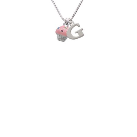 Silvertone Small Pink Cupcake with Crystal Sprinkles - G - Initial Necklace - Cupcake Jewelry