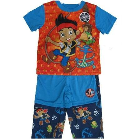 Little Boys Red Blue Jake The Pirate Cartoon 3 Pc Pajama Set 2T-4T