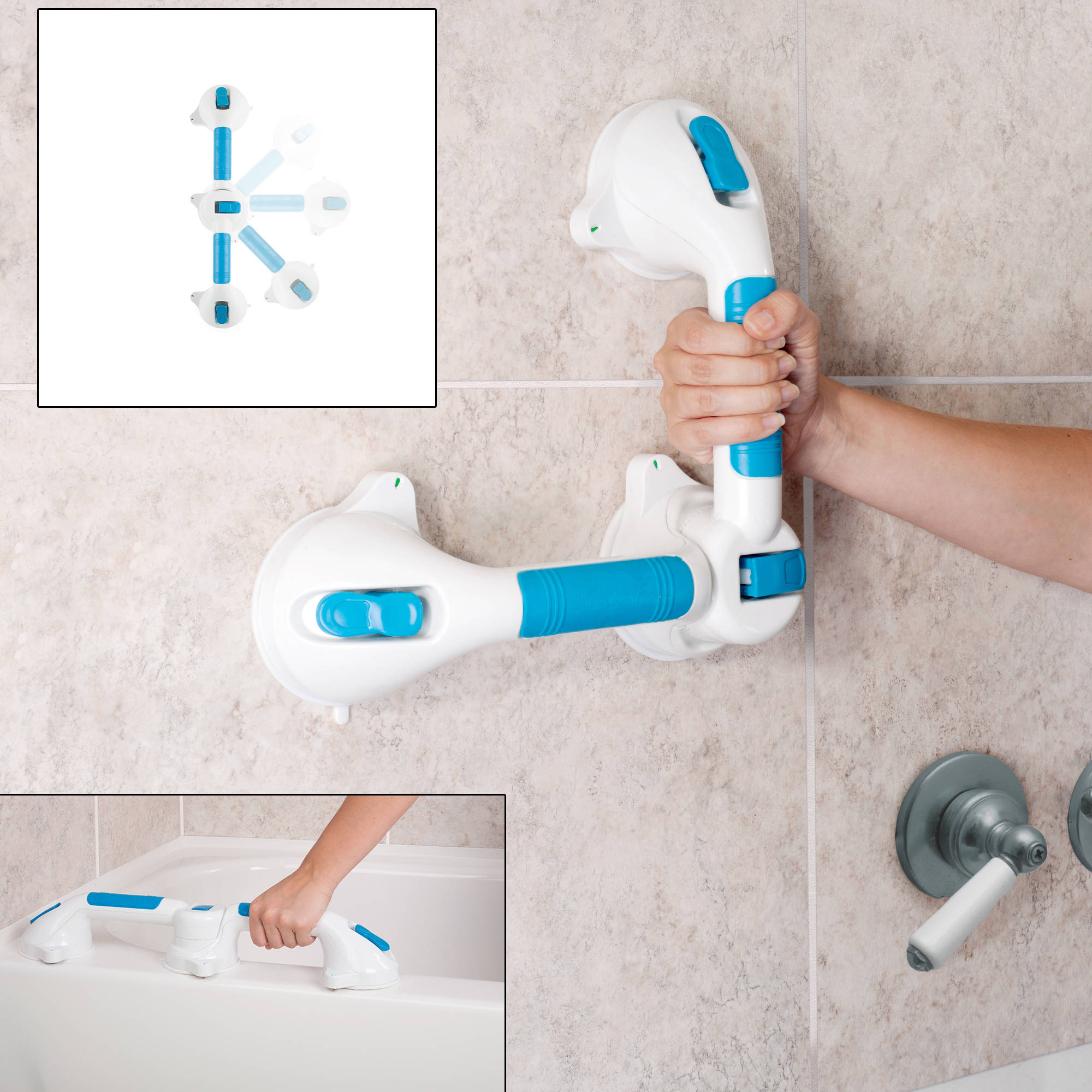 """Swivel Suction Shower Handle 20""""- 180 Degree Rotation Locking Suction Cup Grab Bar with Dual Grip for Shower and Tub Stability, Balance by Bluestone"""