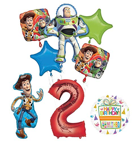 Mayflower Products Toy Story Party Supplies Woody, Buzz Lightyear and Friends 2nd Birthday Balloon Bouquet Decorations - Woody Party Decorations