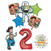 Mayflower Products Toy Story Party Supplies Woody, Buzz Lightyear and Friends 2nd Birthday Balloon Bouquet Decorations