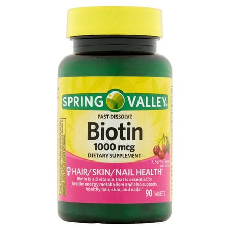 Spring Valley Saveur de cerise Dissoudre rapide Biotine Compléments alimentaires Comprimés, 1000mcg, 90 count
