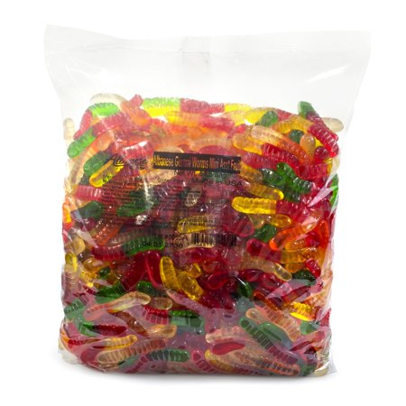 Mini Fruit Gummy Worms (5 lbs.) - (An assortment of fruit-flavored gummi worms in miniature size) (Halloween Treats Gummy Worms)