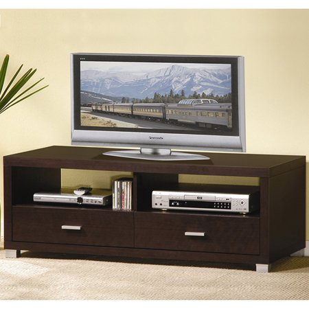 Wholesale Interiors Derwent Dark Brown Modern TV Stand with Drawers for TVs up to 47