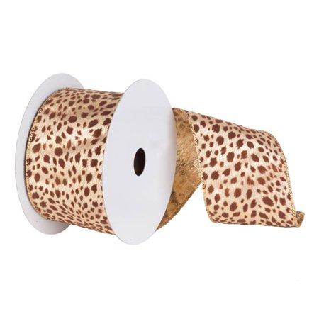Gold Lame Velvet Brown Leopard Ribbon, 6 in. x 10 yard