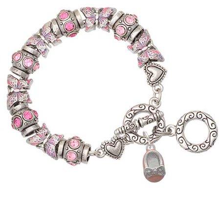Enamel Baby Shoe Charm (Silvertone Pink Enamel Baby Shoe with Bow Pink Butterfly Bead Charm Bracelet )