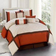 Legacy Decor 7 Pc Burnt Orange Brown And Beige Striped Comforter