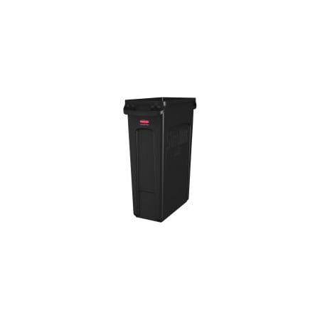 Rubbermaid Commercial Products FG354060BLA Venting Slim Jim Waste Container, Black