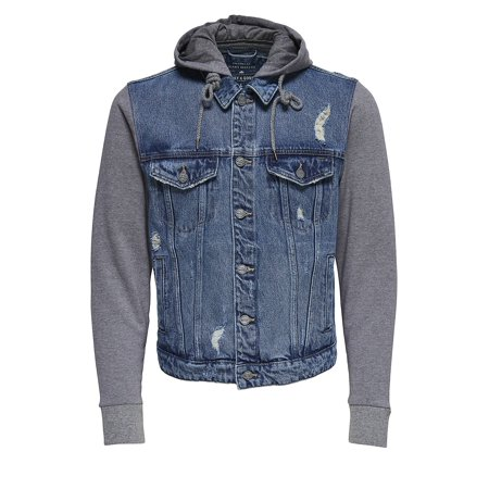 Hooded Denim Jacket](tommy hilfiger men's nylon hooded puffer bomber jacket)