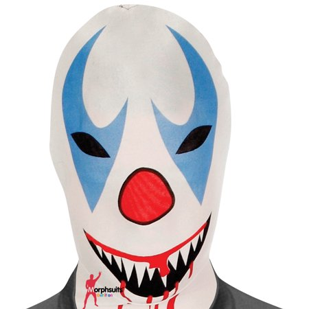Morphsuits Adult Clown Morph Mask, White Red Blue, One Size (Morphsuit Clown)