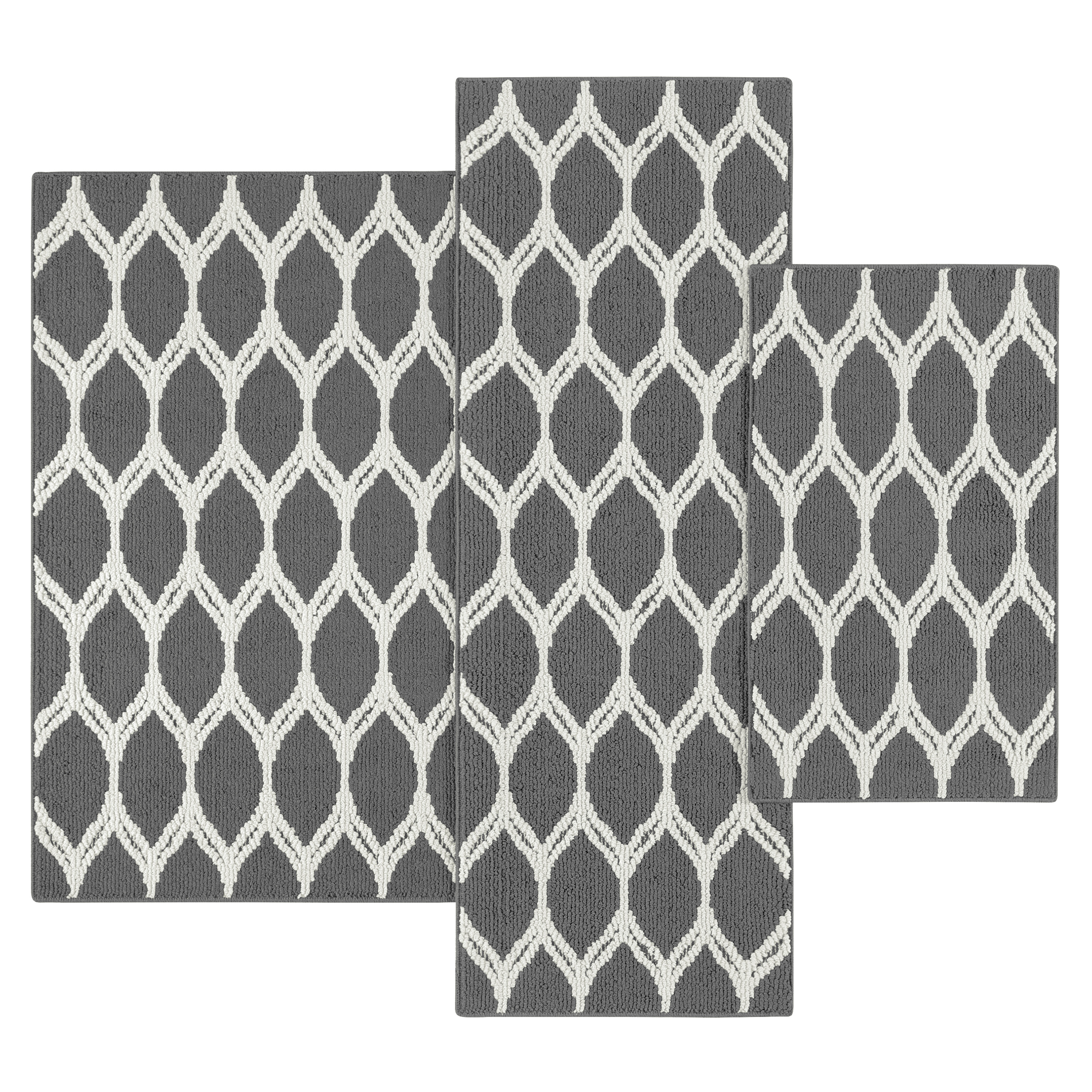 Mainstays Sheridan Ogee 3-Piece Accent Rug Set, Multiple Colors