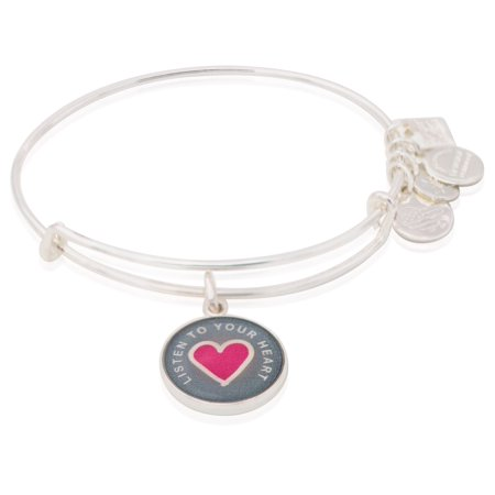 Women's Charity Design Listen to your Heart Bangle Shiny Silver One Size