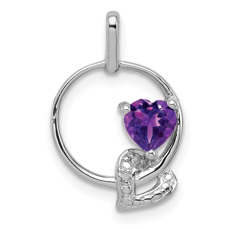 925 Sterling Silver Purple Amethyst Diamond Pendant Charm Necklace Gemstone Gifts For Women For (February Birthstone Heart Charm)