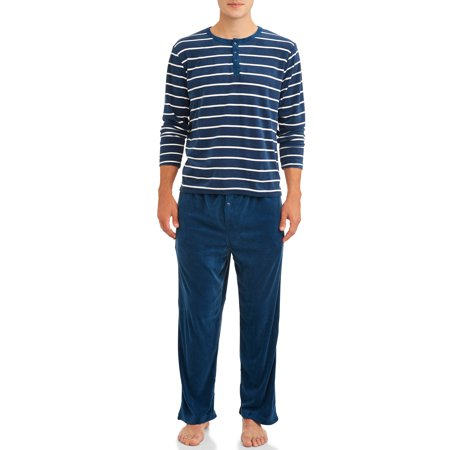 Blue Star Clothing Mens 2-Piece Velour Sleepwear Pajama Set