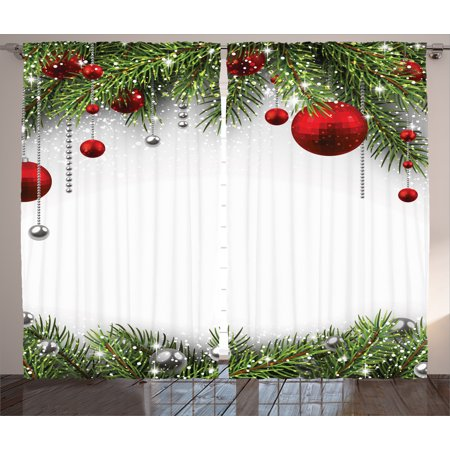 Christmas Curtains 2 Panels Set, Noel Backdrop with Fir Leaves Decorative Bright Balls Classic Religious Xmas Decor, Living Room Bedroom Decor, Multi, by Ambesonne