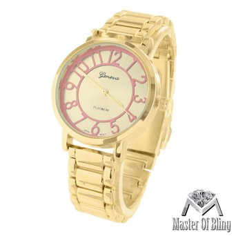Mk Style Womens Pink Dial Watch Parker Gold Tone Acetate