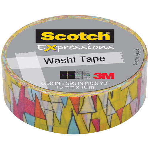 """Scotch Expressions Washi Tape, .59"""" x 393"""", Colorful Triangles"""