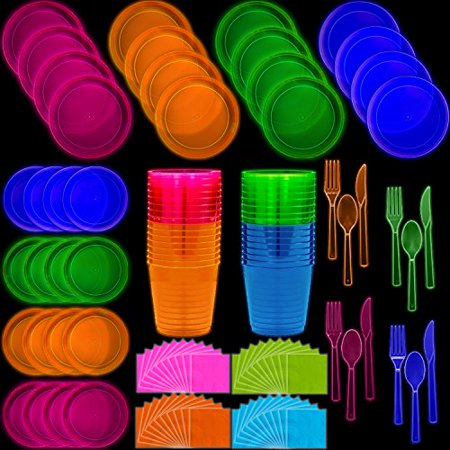 80s Themed Birthday Party (Neon Disposable Party Supplies Set, 16 Guest - 2 Size Plates, Tumbler Cups, Napkins, Cutlery | Glows Under Black Light or UV - Pink, Green, Blue, Orange | For Birthday,)