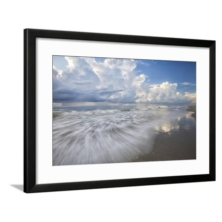 USA, Georgia, Tybee Island. Clouds and waves in morning light at the beach. Framed Print Wall Art By Joanne