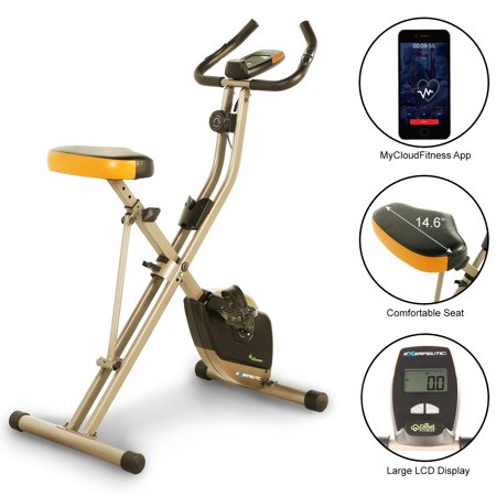 Exerpeutic Folding Bluetooth Smart Cloud Fitness Magnetic Upright Exercise Bike with Goal Setting and FREE