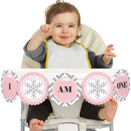Winter Wonderland Birthday (Pink ONEderland 1st Birthday - I Am One - First Winter Wonderland Birthday High Chair)