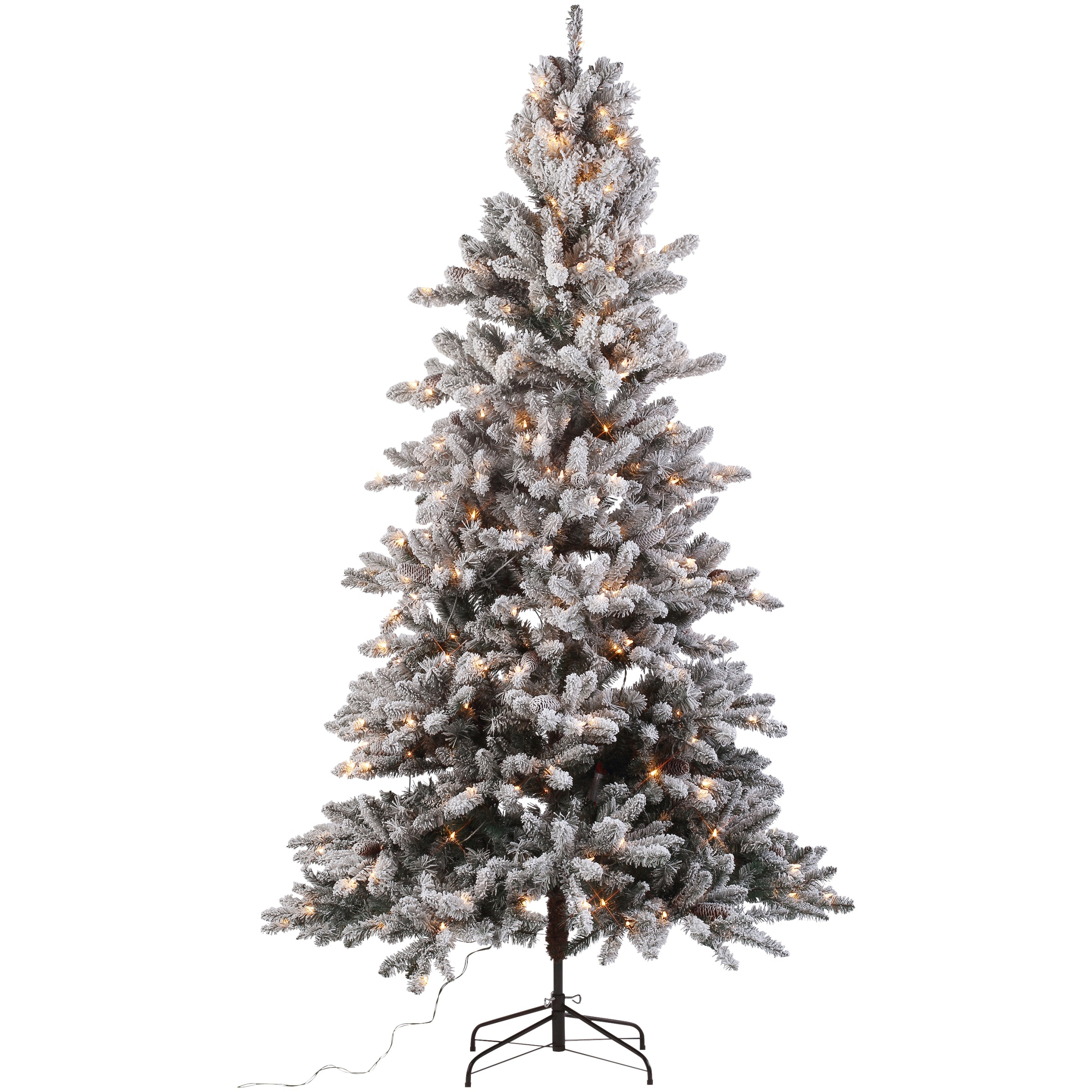 Holiday Time 7.5 ft. Pre-Lit Flocked Birmingham Fir Tree 400 Clear Lights and Metal Stand