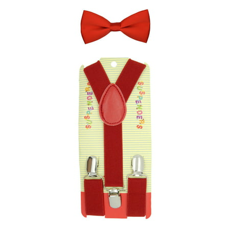 RED Toddler Kids Boys Girls Baby Suspenders and Bow Tie Matching Set Wedding