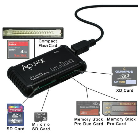 Acuvar High Speed All-in-1 Memory Card Reader / Writer for SD/SDHC, Micro SD, CF, XD, MS/Pro & Duo Cards ()