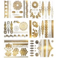 Premium Metallic Henna Tattoos - 75+ Mandala, Mehndi, Boho Designs in Gold and Silver - Temporary Fake Shimmer Jewelry Tattoo - Flowers, Elephants, Bracelets, Wrist and Arm Bands (Jasmine Collection)
