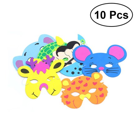 10Pcs Animal Face Mask for Children Kids Birthday Party Favors Dress Up Costume (Random) - Cartoon Dress Up Costumes