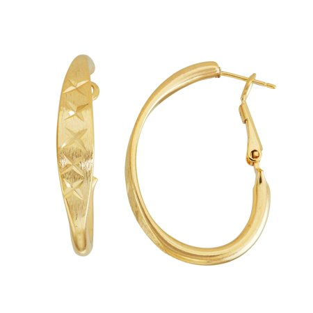 14k White Gold Pattern (Isla Simone  14K Gold Plated 'X' Pattern Diamond Cut Square Tube Oval Hoop Earrings 35mm X 25mm)
